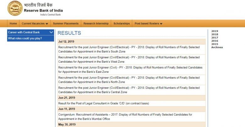 rbi junior engineer result 2019