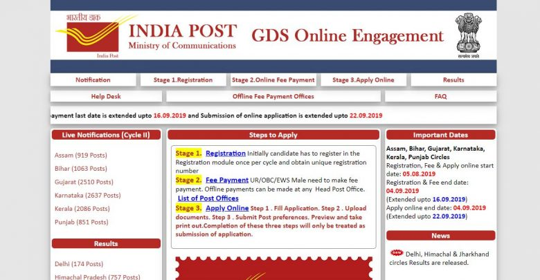 Delhi Postal Circle GDS Result