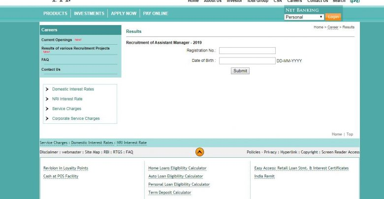 IDBI Bank Assistant Manager Interview Result 2019