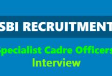 SBI Specialist Cadre Officer Interview 2019