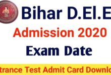 BSEB D.El.Ed Admit Card 2020