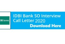 IDBI Bank SO Interview Call Letter